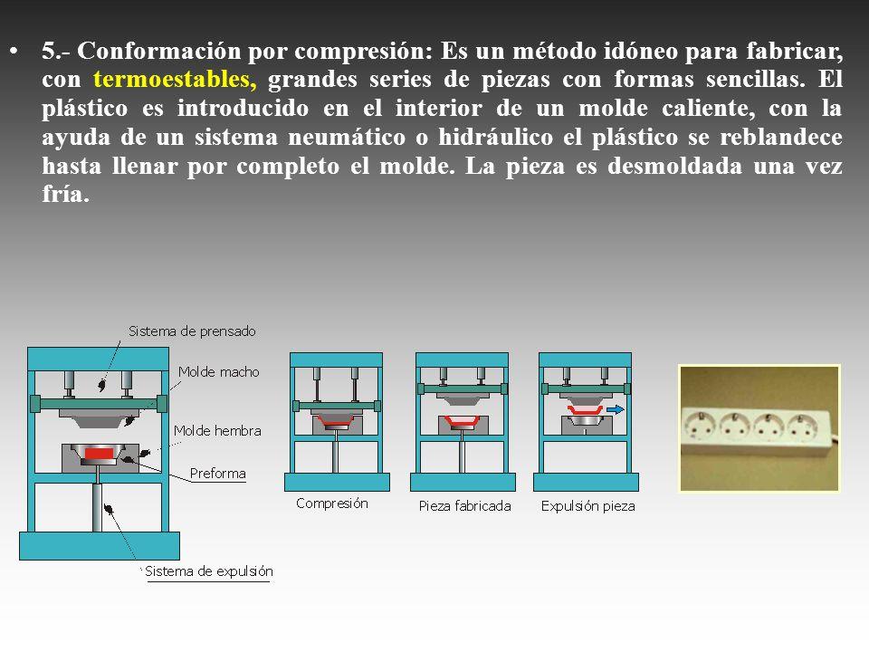 5.- Conformación por compresión: Es un método idóneo para fabricar, con termoestables, grandes series de piezas con formas sencillas.