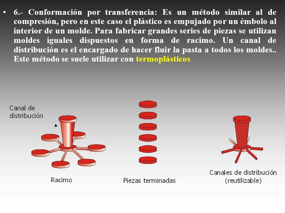 6.- Conformación por transferencia: Es un método similar al de compresión, pero en este caso el plástico es empujado por un émbolo al interior de un molde.