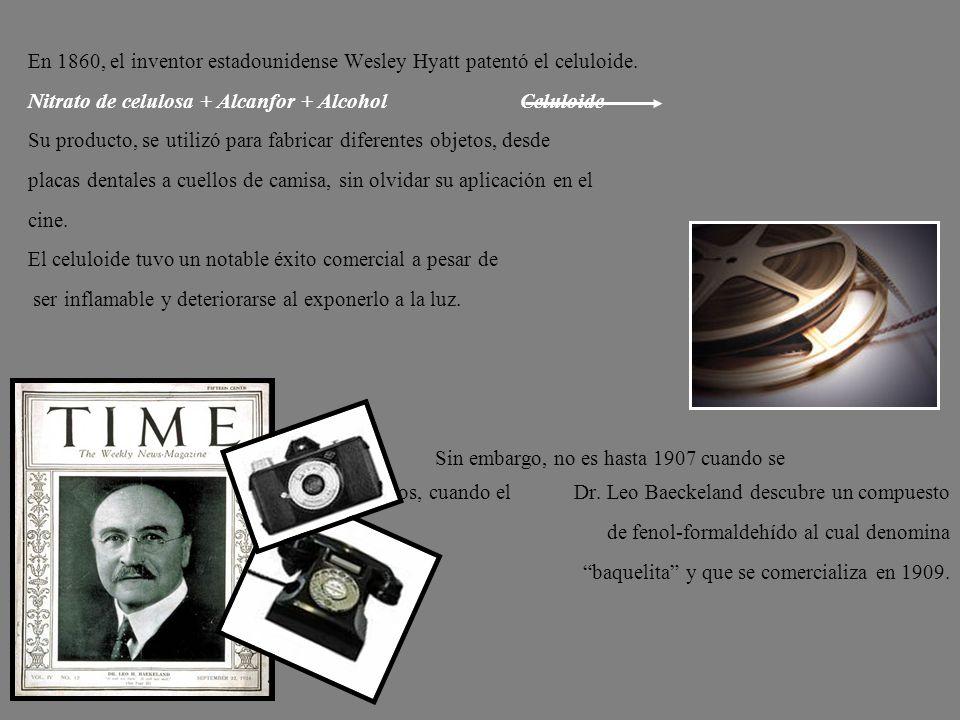 En 1860, el inventor estadounidense Wesley Hyatt patentó el celuloide.