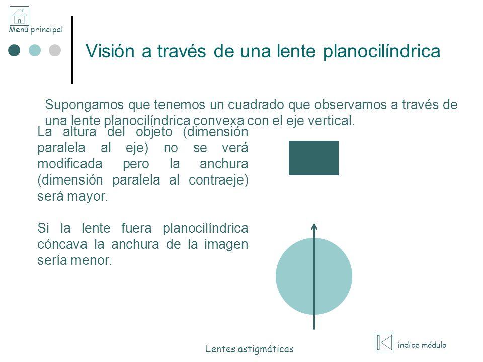 Visión a través de una lente planocilíndrica