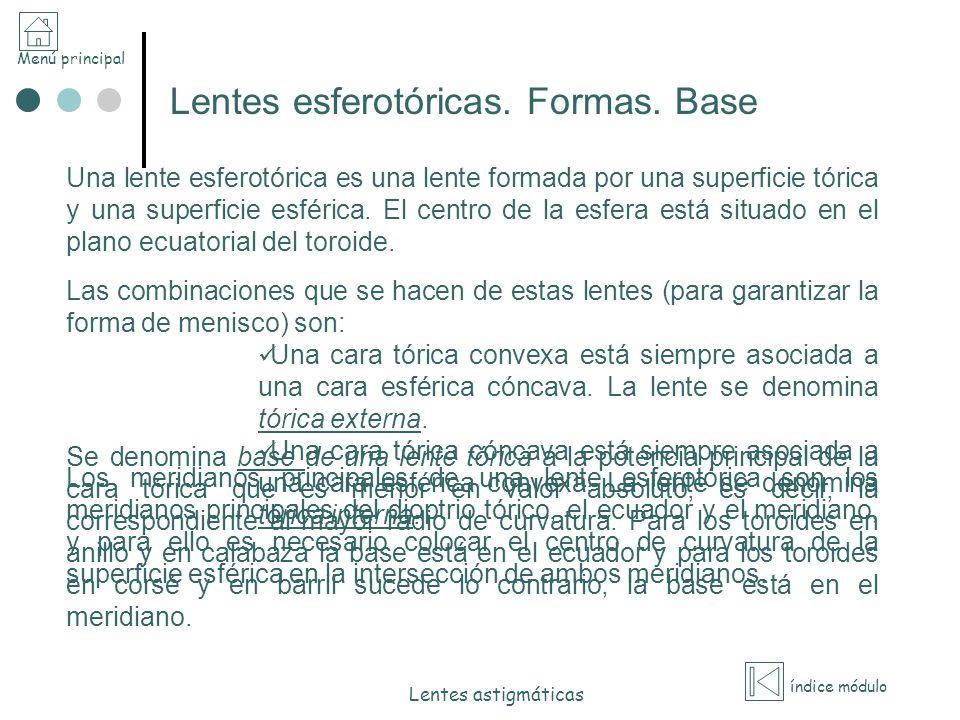 Lentes esferotóricas. Formas. Base