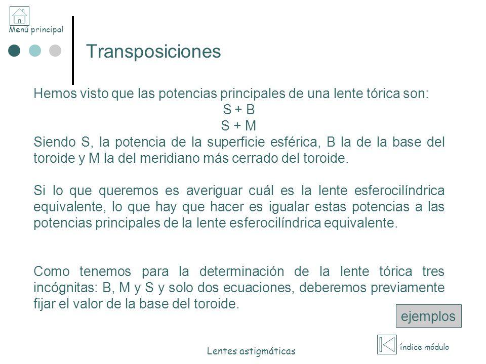 Transposiciones Hemos visto que las potencias principales de una lente tórica son: S + B. S + M.