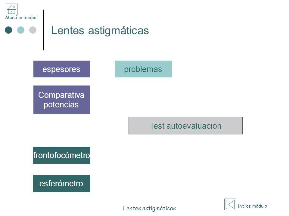 Lentes astigmáticas espesores problemas Comparativa potencias