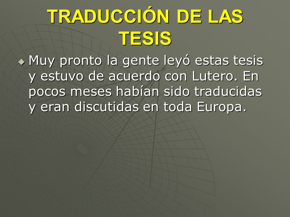 TRADUCCIÓN DE LAS TESIS