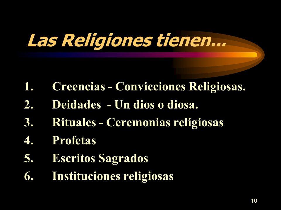 Las Religiones tienen... 1. Creencias - Convicciones Religiosas.