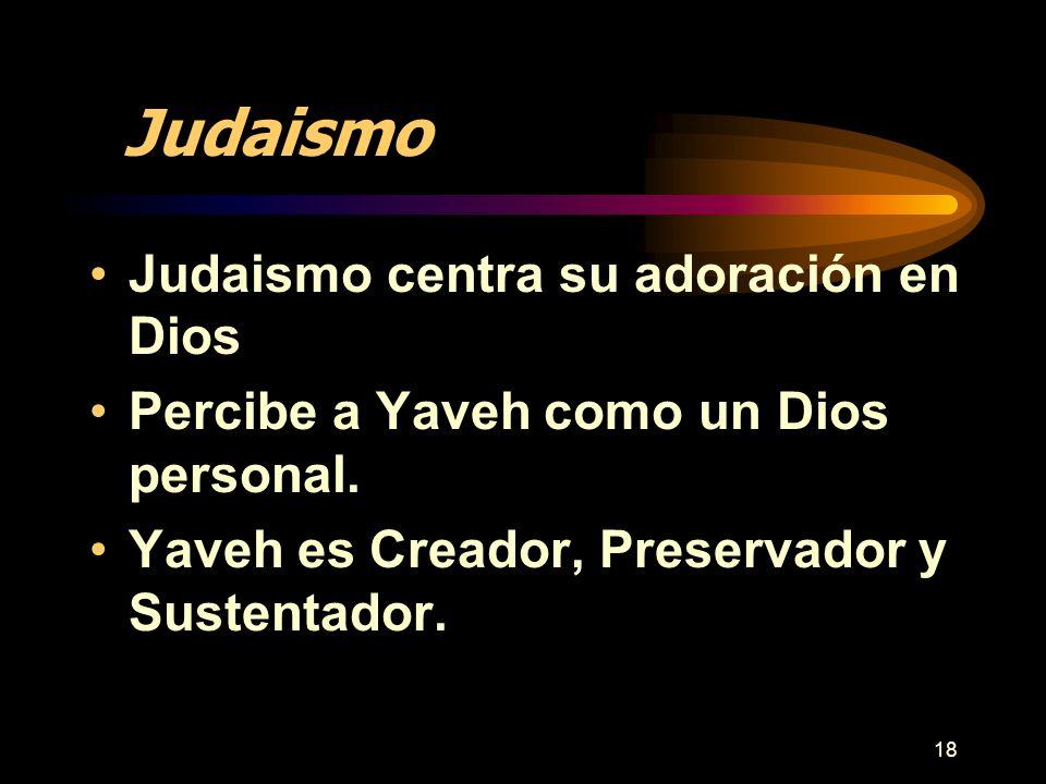 Judaismo Judaismo centra su adoración en Dios