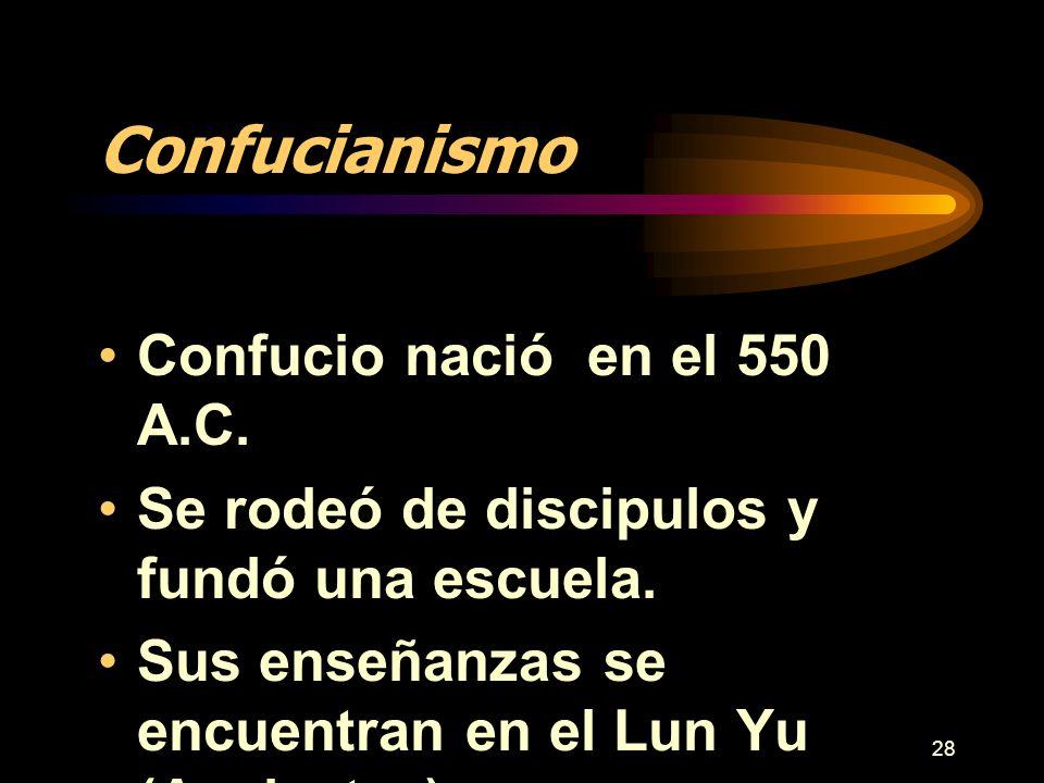 Confucianismo Confucio nació en el 550 A.C.