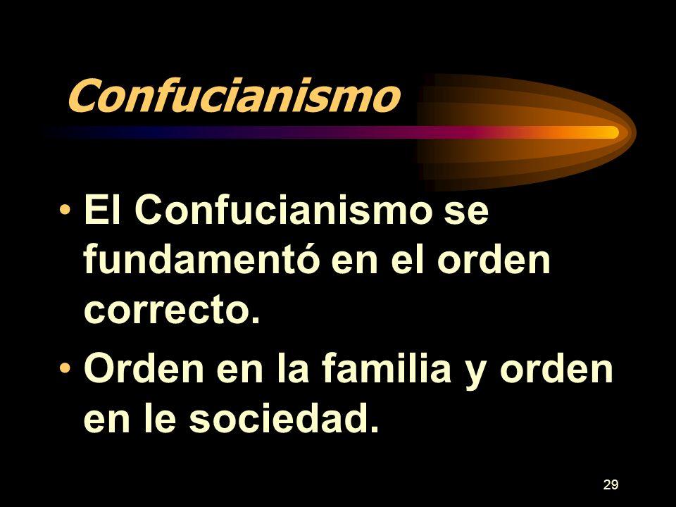 Confucianismo El Confucianismo se fundamentó en el orden correcto.