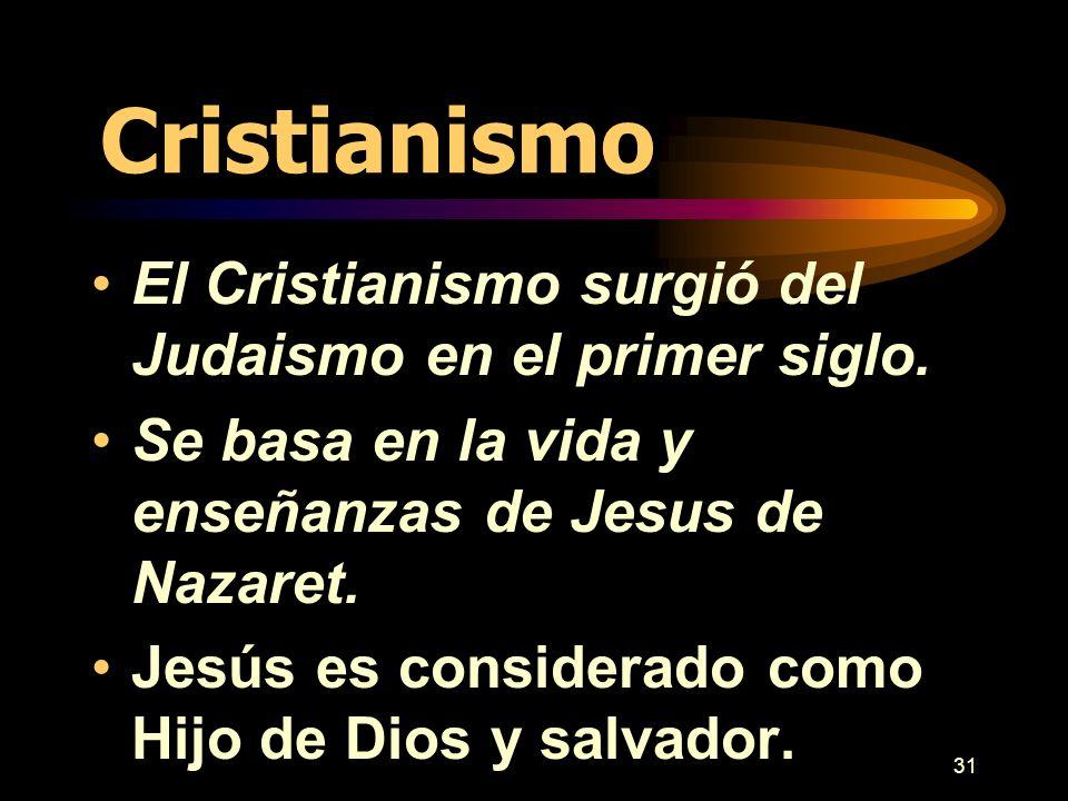 Cristianismo El Cristianismo surgió del Judaismo en el primer siglo.