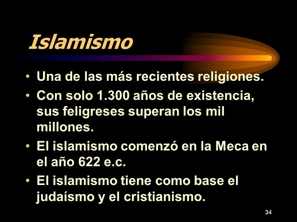 Islamismo Una de las más recientes religiones.