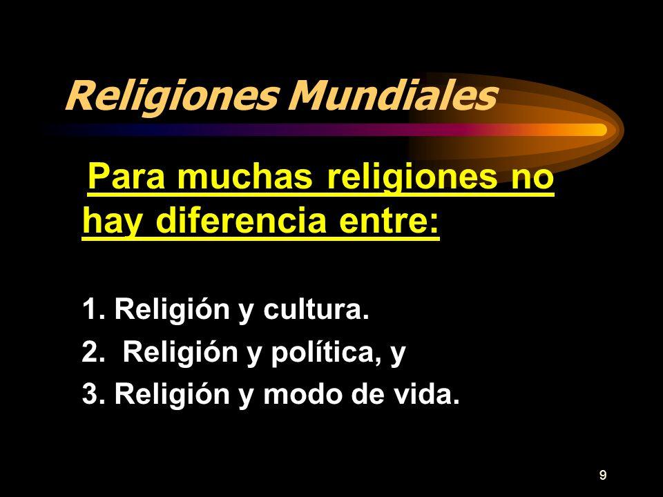 Religiones Mundiales Para muchas religiones no hay diferencia entre: