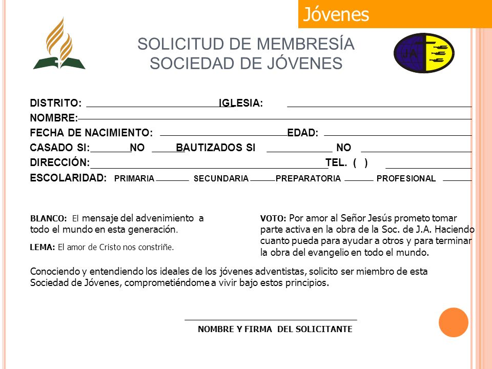 SOLICITUD DE MEMBRESÍA SOCIEDAD DE JÓVENES