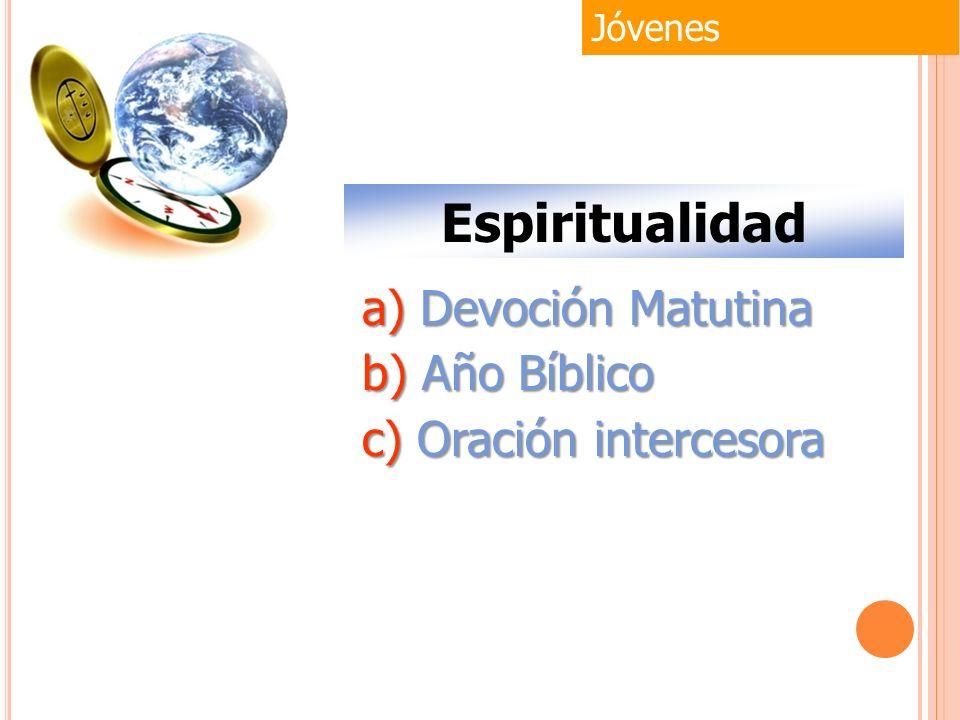 Jóvenes Espiritualidad a) Devoción Matutina b) Año Bíblico c) Oración intercesora