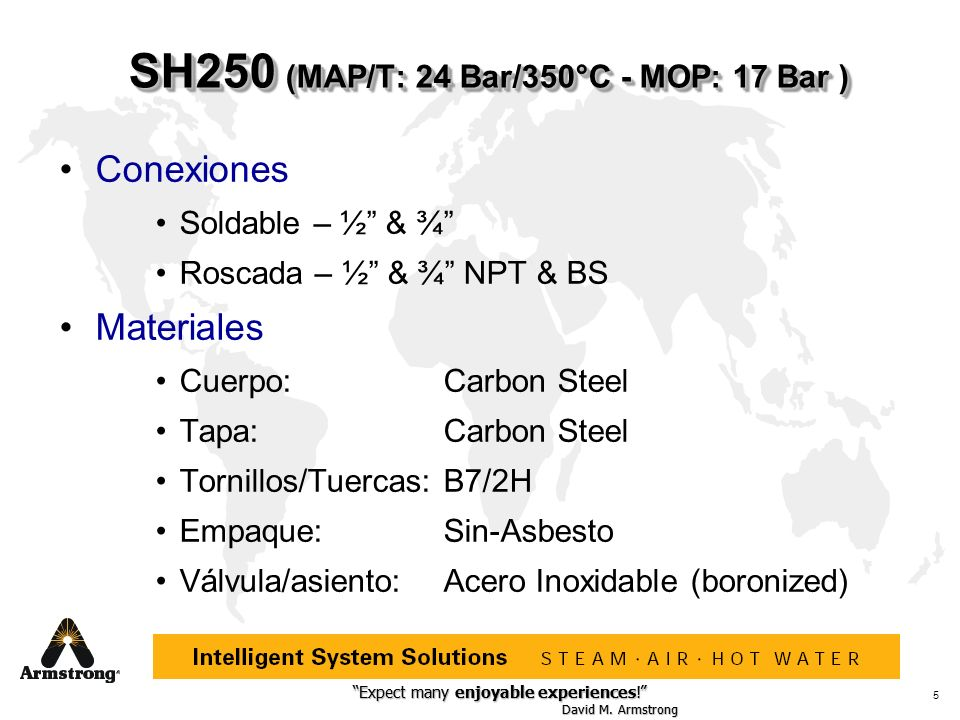 SH250 (MAP/T: 24 Bar/350°C - MOP: 17 Bar )