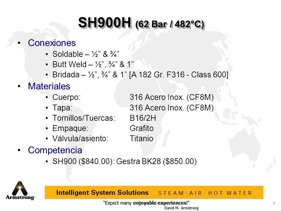 SH900H (62 Bar / 482°C) Conexiones Materiales Competencia