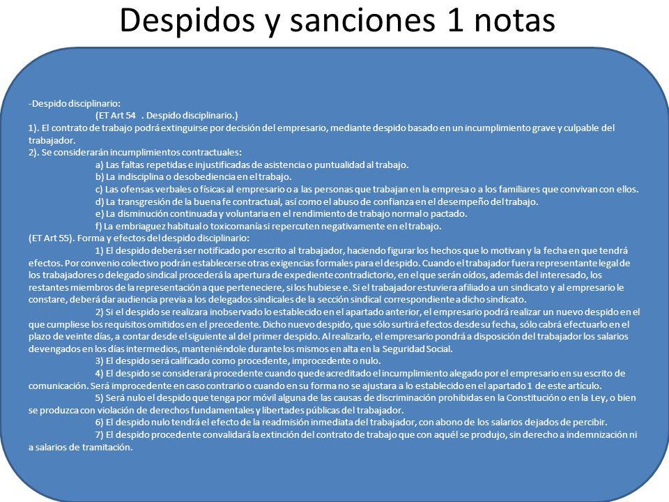 Despidos y sanciones 1 notas