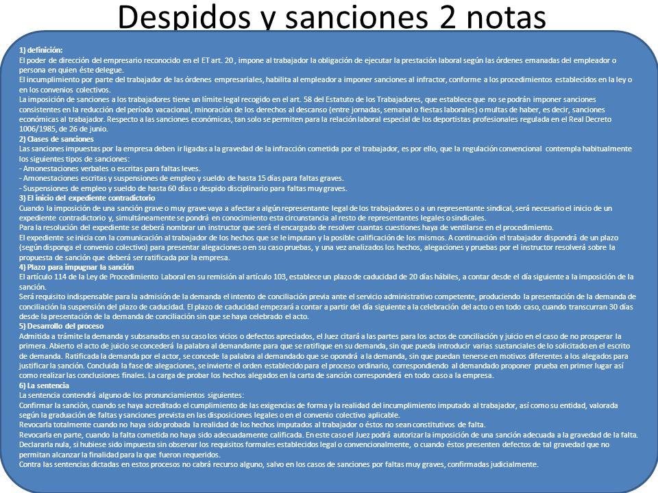 Despidos y sanciones 2 notas