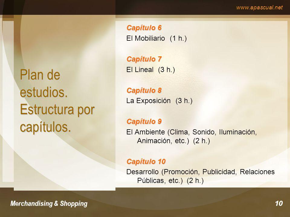 Plan de estudios. Estructura por capítulos.