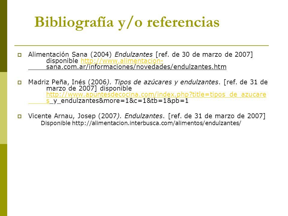 Bibliografía y/o referencias