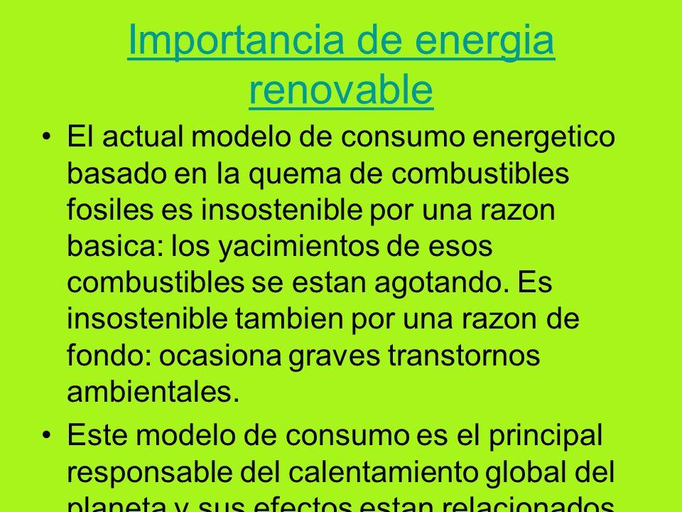 Importancia de energia renovable
