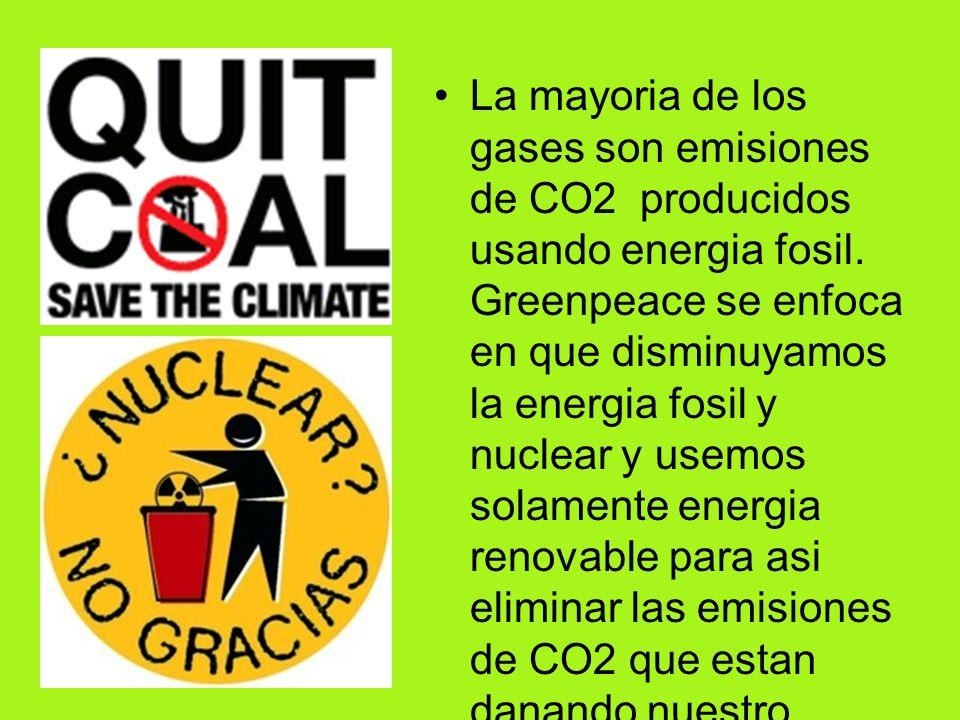 La mayoria de los gases son emisiones de CO2 producidos usando energia fosil.