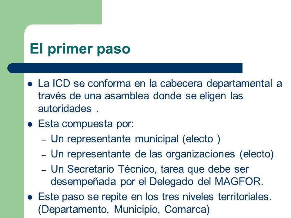 El primer paso La ICD se conforma en la cabecera departamental a través de una asamblea donde se eligen las autoridades .