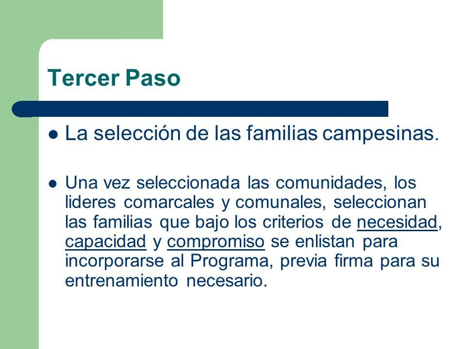 Tercer Paso La selección de las familias campesinas.