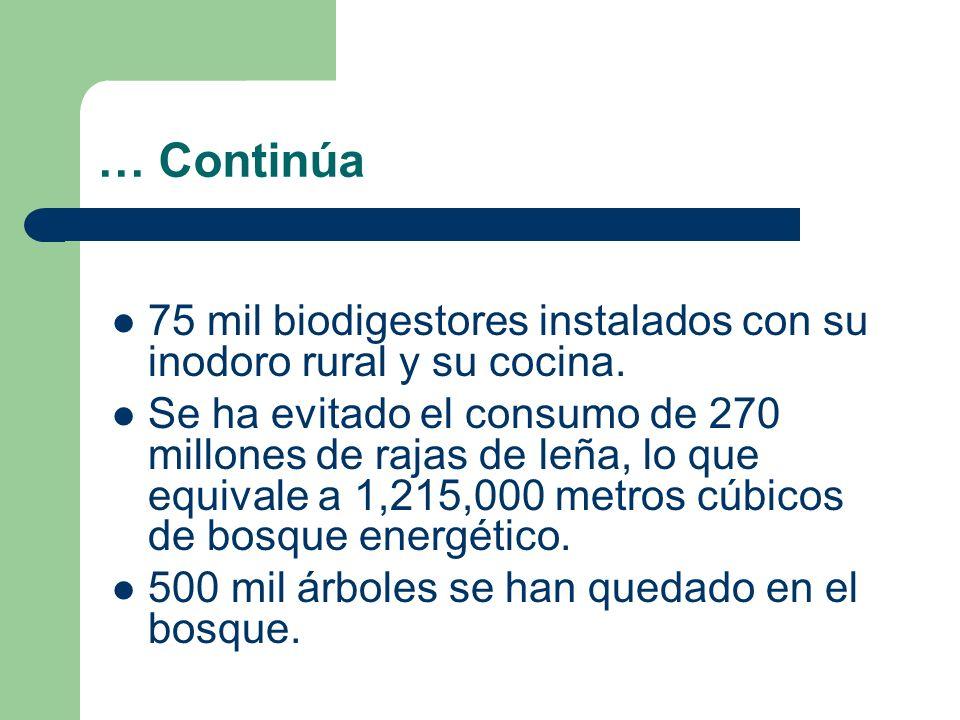 … Continúa 75 mil biodigestores instalados con su inodoro rural y su cocina.