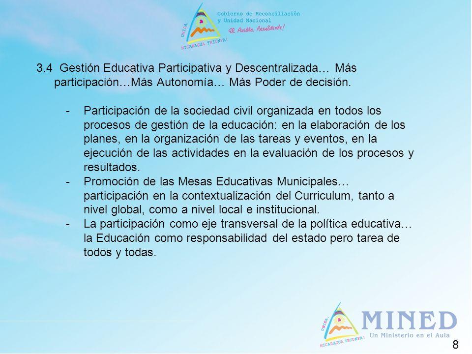 3.4 Gestión Educativa Participativa y Descentralizada… Más participación…Más Autonomía… Más Poder de decisión.