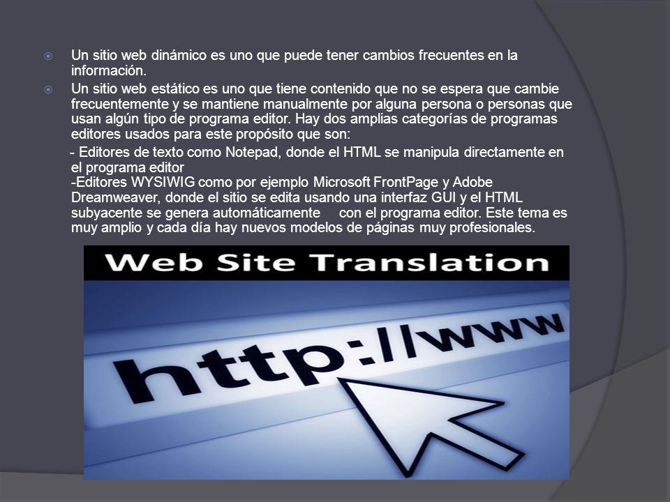 Un sitio web dinámico es uno que puede tener cambios frecuentes en la información.