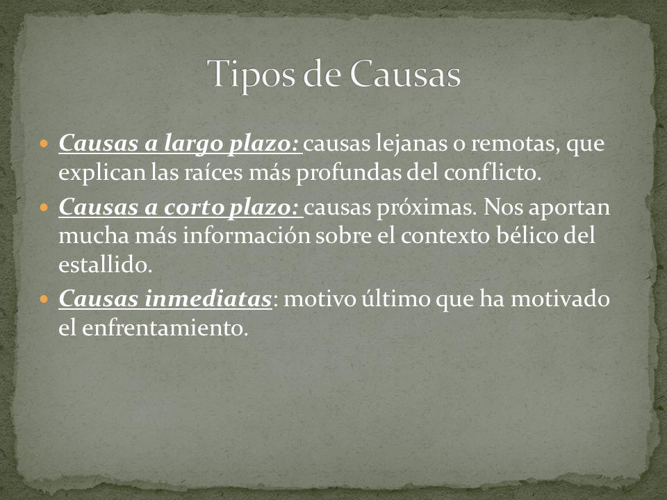 Tipos de Causas Causas a largo plazo: causas lejanas o remotas, que explican las raíces más profundas del conflicto.