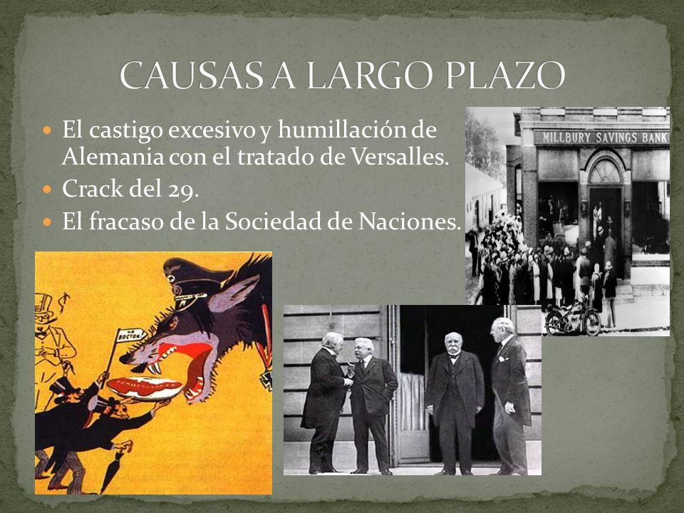 CAUSAS A LARGO PLAZO El castigo excesivo y humillación de Alemania con el tratado de Versalles. Crack del 29.