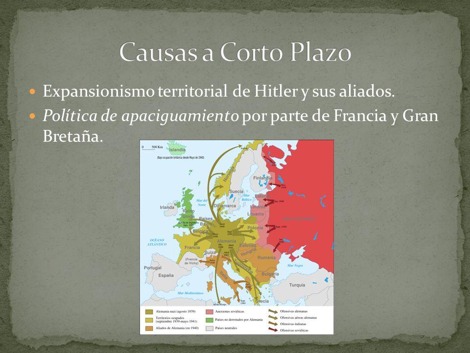 Causas a Corto Plazo Expansionismo territorial de Hitler y sus aliados.