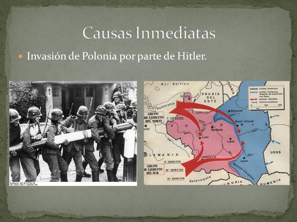 Causas Inmediatas Invasión de Polonia por parte de Hitler.