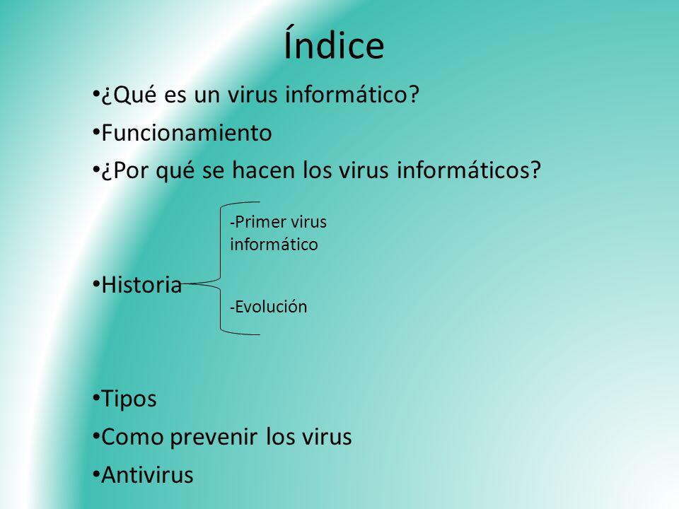 Índice ¿Qué es un virus informático Funcionamiento
