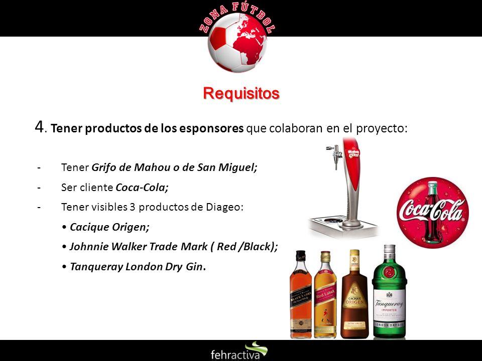 Requisitos 4. Tener productos de los esponsores que colaboran en el proyecto: Tener Grifo de Mahou o de San Miguel;