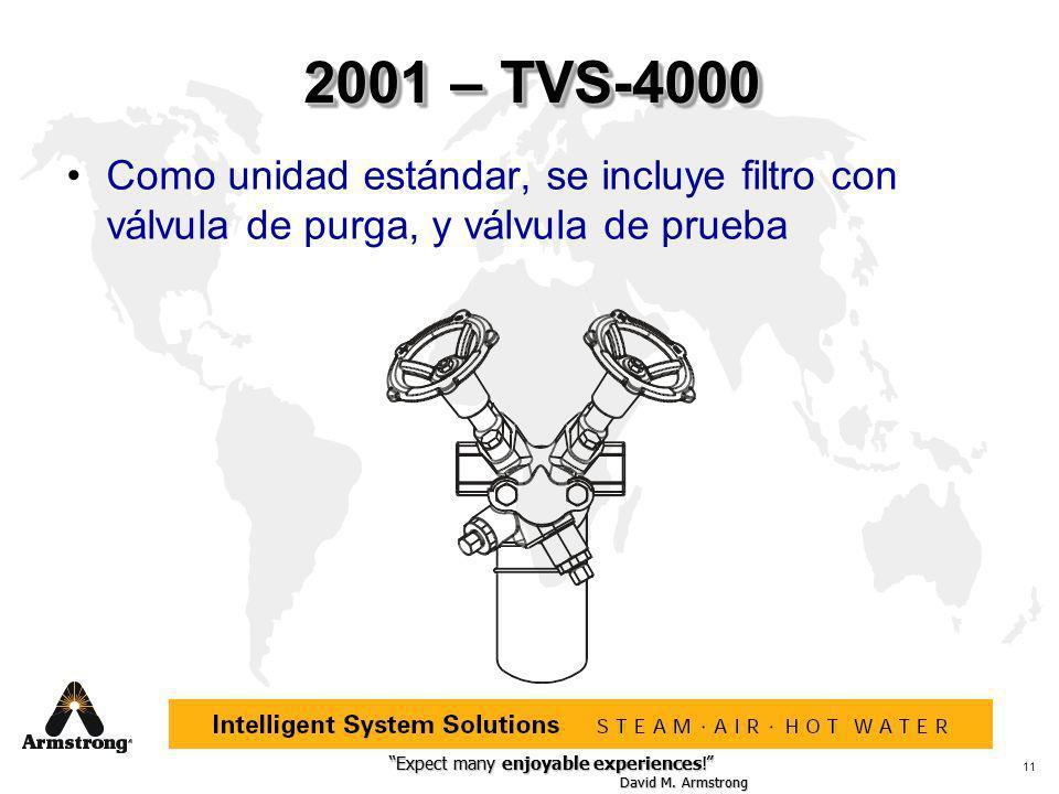 2001 – TVS-4000 Como unidad estándar, se incluye filtro con válvula de purga, y válvula de prueba.