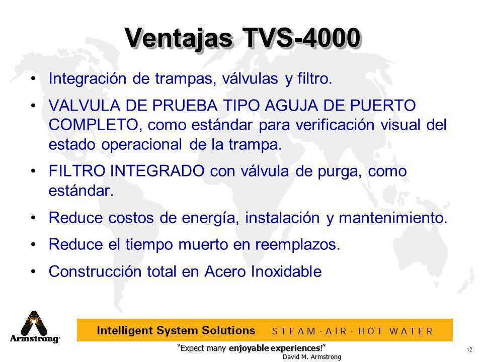 Ventajas TVS-4000 Integración de trampas, válvulas y filtro.