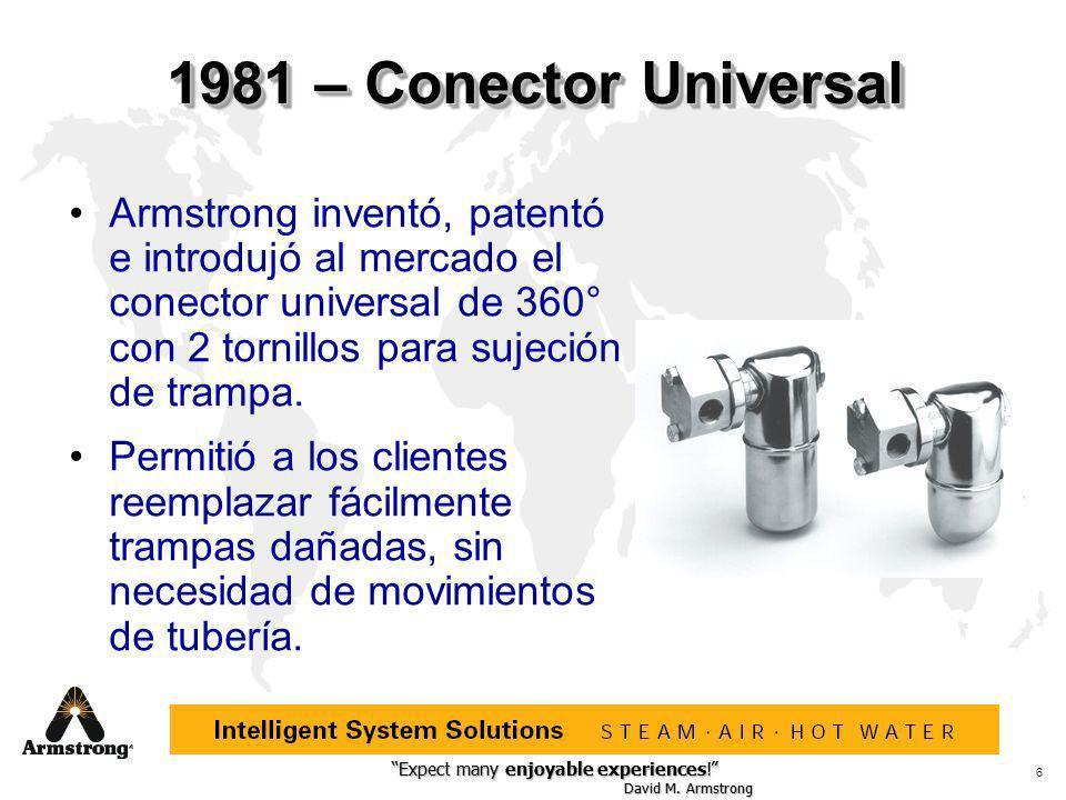 1981 – Conector Universal Armstrong inventó, patentó e introdujó al mercado el conector universal de 360° con 2 tornillos para sujeción de trampa.