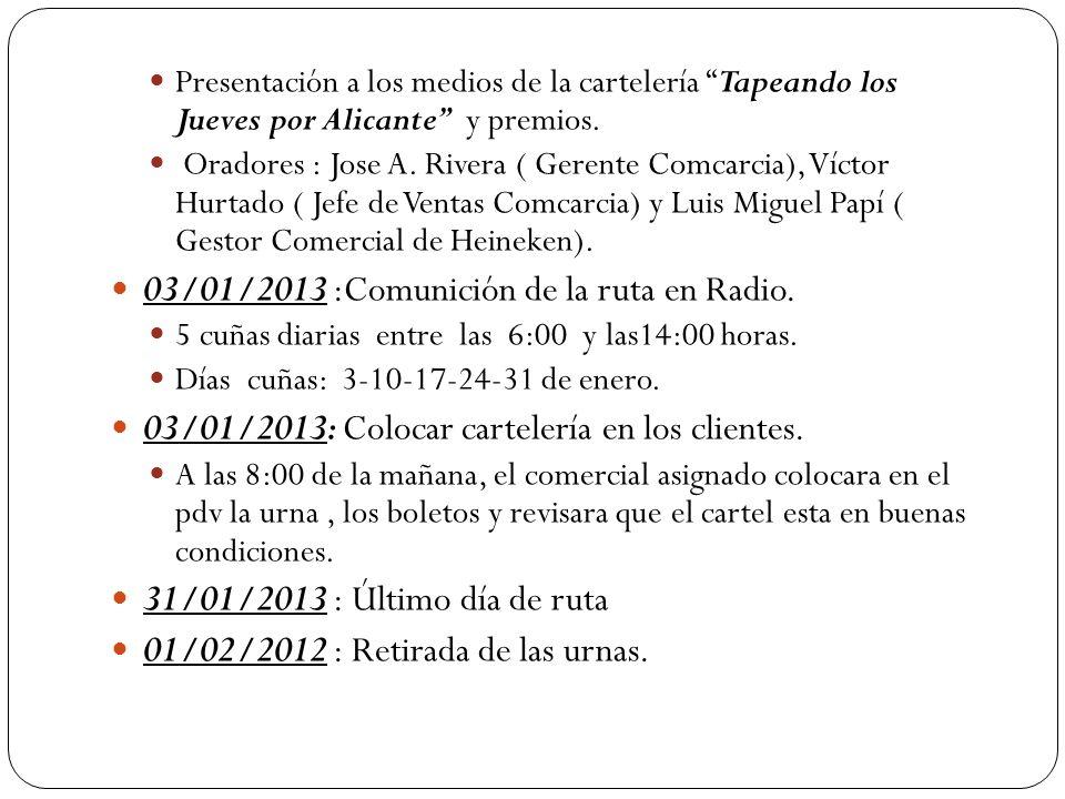 03/01/2013 :Comunición de la ruta en Radio.