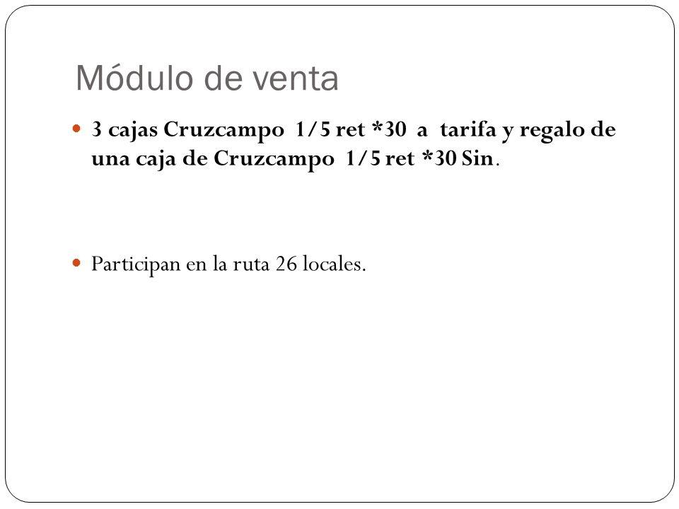 Módulo de venta3 cajas Cruzcampo 1/5 ret *30 a tarifa y regalo de una caja de Cruzcampo 1/5 ret *30 Sin.