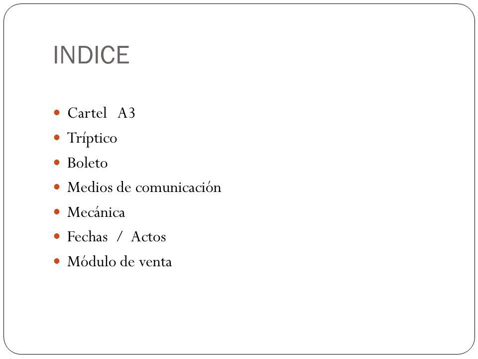 INDICE Cartel A3 Tríptico Boleto Medios de comunicación Mecánica