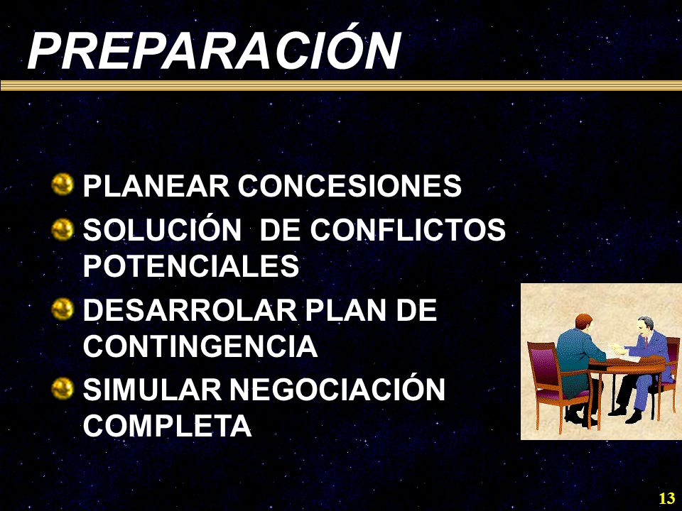 PREPARACIÓN PLANEAR CONCESIONES SOLUCIÓN DE CONFLICTOS POTENCIALES