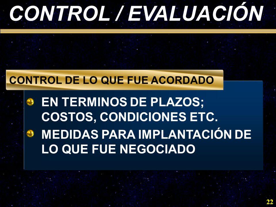 CONTROL / EVALUACIÓN EN TERMINOS DE PLAZOS; COSTOS, CONDICIONES ETC.