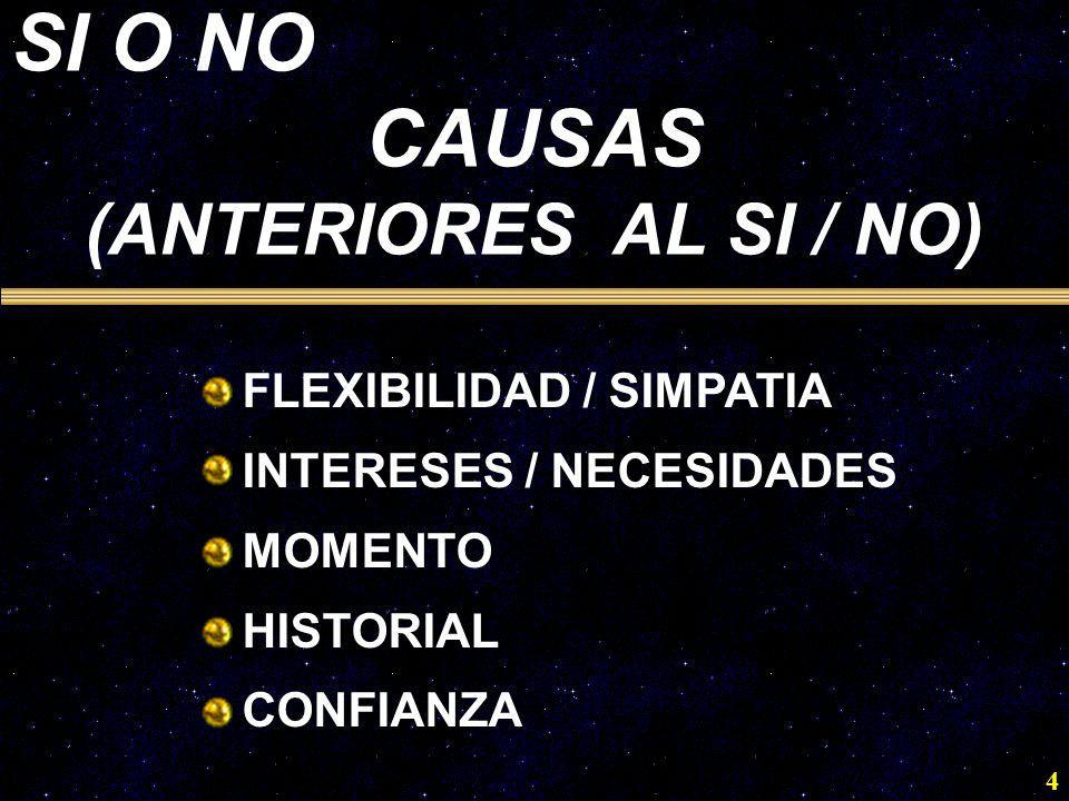 SI O NO CAUSAS (ANTERIORES AL SI / NO) FLEXIBILIDAD / SIMPATIA