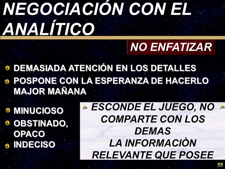 NEGOCIACIÓN CON EL ANALÍTICO NO ENFATIZAR