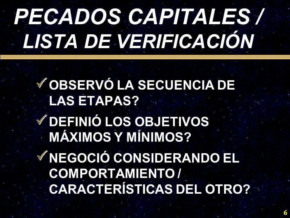 PECADOS CAPITALES / LISTA DE VERIFICACIÓN