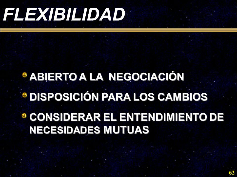 FLEXIBILIDAD ABIERTO A LA NEGOCIACIÓN DISPOSICIÓN PARA LOS CAMBIOS