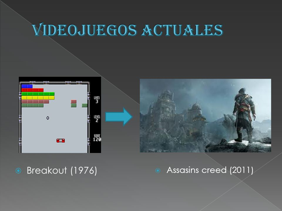 VIDEOJUEGOS ACTUALES Breakout (1976) Assasins creed (2011)
