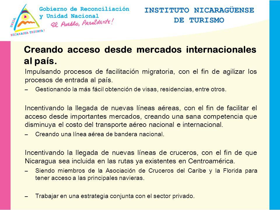 Creando acceso desde mercados internacionales al país.